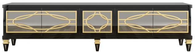 Casa Padrino Luxus Barock TV Schrank Schwarz / Gold 213 x 55 x H. 66 cm - Prunkvoller Fernsehschrank mit 5 verspiegelten Türen - Barock Möbel