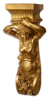 Casa Padrino Barock Wand-Blumentopfhalter Gold 46, 3 x 29, 8 x H. 101, 7 cm - Hotel & Restaurant Deko im Barockstil
