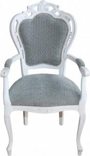 Casa Padrino Barock Esszimmer Stuhl mit Armlehnen Grau-Blau / Antik Weiss - Designer Stuhl - Luxus Qualität