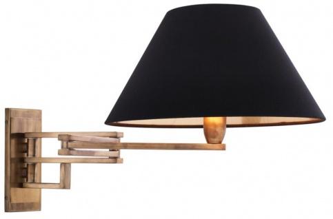 Casa Padrino Luxus Wandleuchte mit Schwenkarm in antik messing und schwarzem Lampenschirm - Wohnzimmer Wandlampe