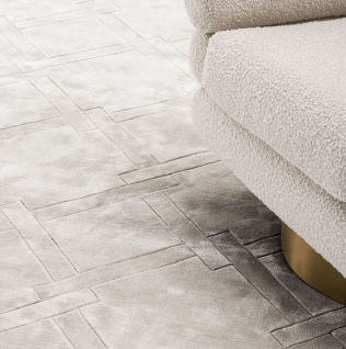 Casa Padrino Luxus Viskose Teppich Grau - Verschiedene Größen - Handgewebter Wohnzimmer Teppich - Wohnzimmer Deko
