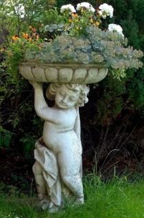Casa Padrino Jugendstil Blumentopf mit Skulptur Antik Grau Ø 50 x H. 86 cm - Pflanzentopf - Gartendeko
