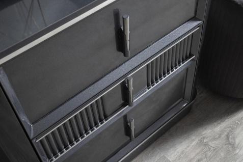 Casa Padrino Luxus Schlafzimmer Schminktisch Set Grau / Silber - 1 Schminkkommode mit Spiegel & 1 Hocker - Luxus Schlafzimmer Möbel - Vorschau 3