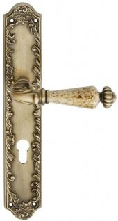 Casa Padrino Barock Türklinken Set Messing Patiniert 14, 5 x H. 30 cm - Barockstil Türgriff Set mit Edel Porzellan Griff