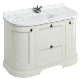 Casa Padrino Waschschrank / Waschtisch mit Marmorplatte Türen und Schubladen 134 x 55 x H. 93 cm