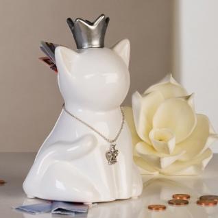 Designer Spardose Glamour Cat mit silberner Krone aus Keramik Weiss/Silber Höhe 16, 5 cm, Breite 10, 5 cm - Edel & Prunkvoll
