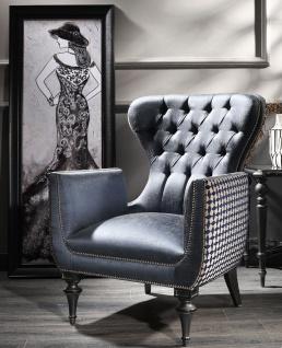 Casa Padrino Luxus Barock Wohnzimmer Sessel Blau / Weiß / Schwarz / Silber 80 x 80 x H. 105 cm - Barockstil Möbel