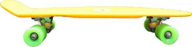 Koston Oldschool Skateboard Plastic Cruiser 70s Style Yellow/Green Medium Size - 27.0 x 7.5 inch - Plastik Vinyl Skateboard