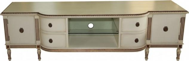 Casa Padrino Barock Fernsehkommode mit 4 Schubladen und 2 Türen Antik Creme/Gold 190 cm - Fernsehschrank - Sideboard - Unikat!