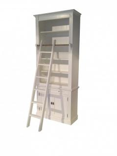 Bücherregal im Landhausstil (B 100 x T 36 x H 240) mit Leiter (H 100 cm) weiß Antik-Look - shabby-chic Regalschrank, Bücherschrank