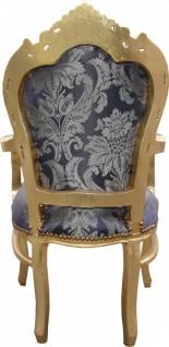 Casa Padrino Barock Esszimmer Stuhl Blau Muster / Gold mit Armlehnen - Limited Edition - Vorschau 3