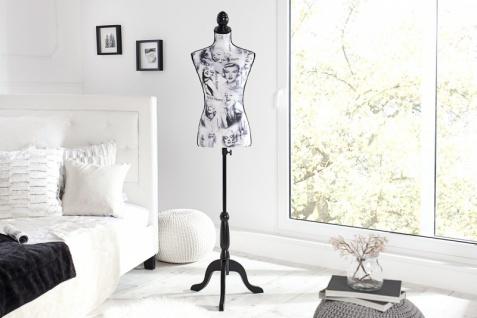 Casa Padrino Retro-Style Schneiderbüste Marilyn in Schwarz Weiss - Barock Mannequinn