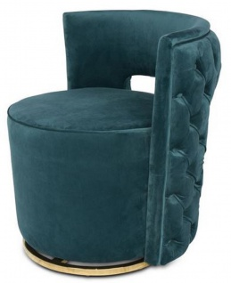 Casa Padrino Luxus Chesterfield Drehsessel Dunkelgrün 65 x 58 x H. 69 cm - Samt Sessel - Luxus Möbel