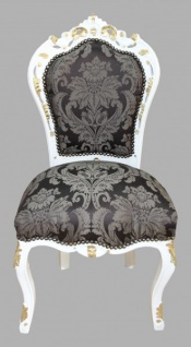 Casa Padrino Barock Esszimmer Stuhl Schwarz Muster / Weiß-Gold - Antik Möbel
