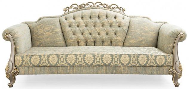 Casa Padrino Luxus Barock Sofa Grün / Gold / Grau / Gold 225 x 90 x H. 110 cm - Prunkvolles Barockstil Wohnzimmer Sofa mit elegantem Muster - Barock Möbel