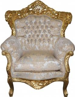 Casa Padrino Barock Sessel King Mod2 Creme Gold Muster / Gold mit Glitzersteinen 85 x 60 x H. 116 cm