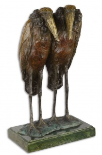 Casa Padrino Luxus Bronze Skulptur Marabu Störche Bronze / Gold / Grün 21, 7 x 17, 2 x H. 36, 2 cm - Bronzefigur mit Marmorsockel - Dekofigur