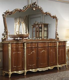 Casa Padrino Luxus Barock Möbel Set Sideboard mit Spiegel Braun / Gold / Silber - Edler Massivholz Schrank mit Wandspiegel - Hotel Möbel - Schloss Möbel - Luxus Qualität - Made in Italy