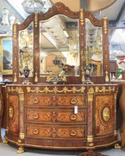 Casa Padrino Luxus Barock Schrank mit Spiegelkonsole Mahagoni Intarsien mit Marmorplatte - Luxus Wohnzimmer Möbel Konsole mit Spiegel