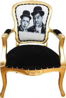 Casa Padrino Barock Luxus Barock Salon Stuhl Laurel & Hardy / Gold