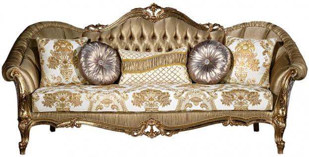 Casa Padrino Luxus Barock Sofa Gold / Weiß 256 x 87 x H. 120 cm - Prunkvolles Wohnzimmer Sofa mit dekorativen Kissen - Wohnzimmer Möbel im Barockstil