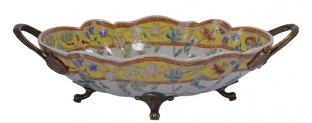 Casa Padrino Luxus Barock Porzellan Schale mit 2 Messing Griffen 33, 8 x 19, 1 x H. 9, 8 cm