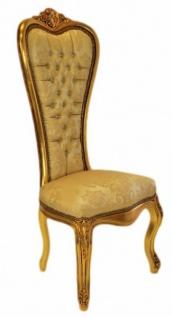 Casa Padrino Barock Thron Stuhl Queen Anne Gold Muster Gold mit Bling Bling Glitzersteinen Hochlehnstuhl