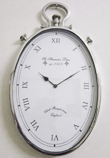 Casa Padrino Luxus Wanduhr Silber 30 x 6 x H. 60 cm - Ovale Messing Uhr