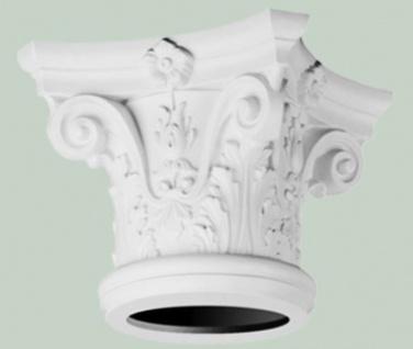 Casa Padrino Barock Wanddeko Säulen Kopfteil Weiß 36 x 36 x H. 30 cm - Barock Deko Zierelement - Deko Accessoires