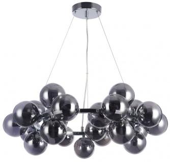 Casa Padrino Wohnzimmer Hängeleuchte Silber / Schwarz Ø 69 x H. 23, 8 cm - Hängelampe mit kugelförmigen Lampenschirmen
