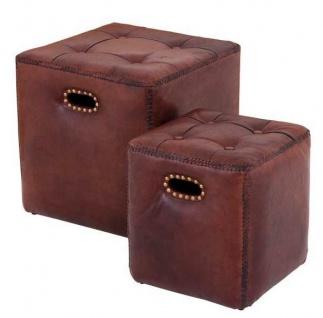 Casa Padrino Luxus Echt Leder Hocker Set Tobacco Braun - Leder Möbel (2 Hocker)