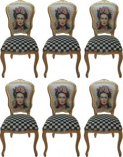 Casa Padrino Luxus Barock Esszimmer Set Madmoisell Mehrfarbig / Gold 55 x 54 x H. 103 cm - 6 handgefertigte Esszimmerstühle - Barock Esszimmermöbel - Vorschau 1