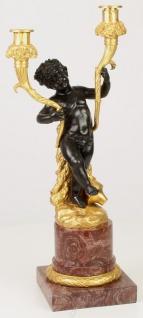 Casa Padrino Barock Doppel Kerzenhalter Schwarz / Gold / Rot 21, 8 x 15, 1 x H. 49, 5 cm - Edler Kerzenständer im Barockstil