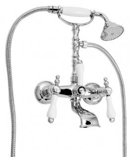 Casa Padrino Jugendstil Badewannen Armatur mit Brause Silber / Weiß H. 35, 5 cm - Nostalgisches Bad Zubehör - Erstklassische Qualität