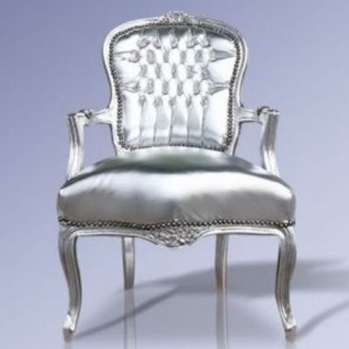 Casa Padrino Barock Salon Stuhl Silber Lederoptik / Silber - Möbel Antik Stil