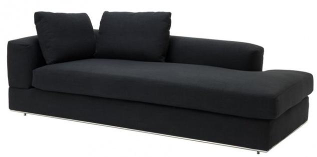 Casa Padrino Designer Sofa Schwarz Linksseitig 231 x 101 x H. 85 cm - Luxus Wohnzimmer Möbel