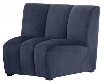 Casa Padrino Luxus Samt Couch Mitternachtsblau 109 x 95 x H. 83, 5 cm - Gebogenes & Erweiterbares Luxus Wohnzimmer Sofa
