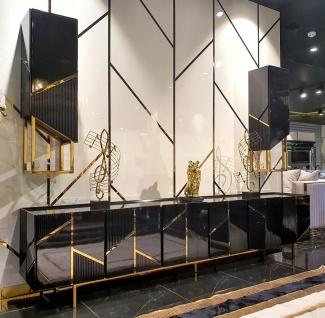 Casa Padrino Luxus TV Schrank Set Schwarz / Gold - 1 TV Schrank & 2 Hängeschränke - Luxus Wohnzimmer TV Möbel - Luxus Qualität