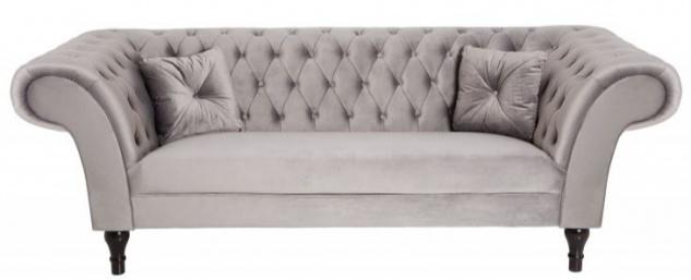 Casa Padrino Chesterfield Sofa in Silbergrau 230 x 90 x H. 79 cm - Designer Chesterfield Sofa