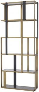 Casa Padrino Luxus Regalschrank Messing / Mattschwarz / Grau 100 x 37 x H. 240, 5 cm - Edelstahl Schrank mit 5 Glasregalen - Wohnzimmerschrank - Büroschrank - Luxus Möbel - Vorschau 1