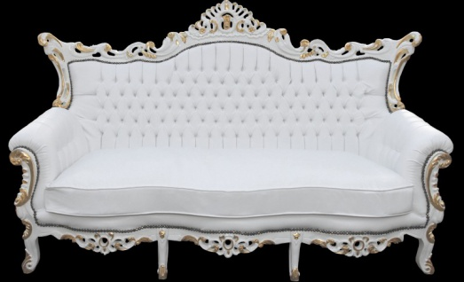 Casa Padrino Barock 3-er Sofa Master Weiss/Gold Mod2 - Antik Möbel - Limited Edition - Vorschau 2