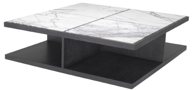 Casa Padrino Luxus Couchtisch Weiß / Lila / Anthrazitgrau 120 x 120 x H. 35 cm - Moderner Massivholz Wohnzimmertisch mit Marmorplatten - Luxus Qualität