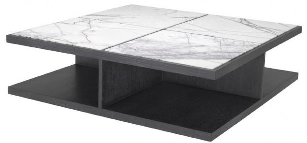 Casa Padrino Luxus Couchtisch Weiß / Lila / Grau 120 x 120 x H. 35 cm - Moderner Massivholz Wohnzimmertisch mit Marmorplatten - Luxus Qualität