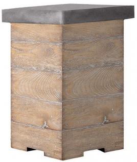 Casa Padrino Luxus Gasflaschenbehälter Beistelltisch mit Abdeckhaube Braun / Grau 35 x 35 x H. 60 cm - Handgefertigter Wetterbeständiger Balkon Garten Terrassen Beistelltisch - Gartenmöbel