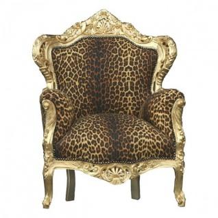 Casa Padrino Barock Sessel King Leopard / Gold - Luxus Antik Stil Möbel