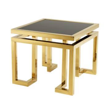 Casa Padrino Luxus Art Deco Designer Beistelltisch Gold mit schwarzem Glas - Hotel Tisch Möbel