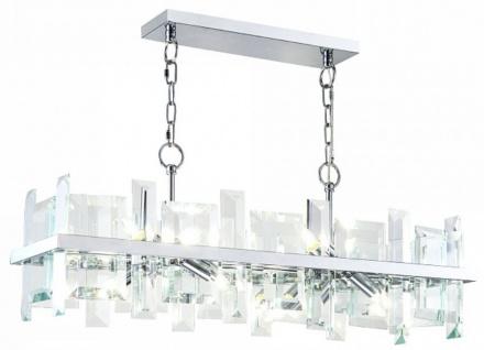 Casa Padrino Hängeleuchte Silber 85, 5 x H. 24 cm - Moderne rechteckige Hängelampe mit Metallrahmen und Glasplatten - Designer Leuchten