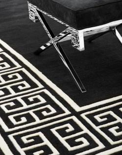 Casa Padrino Luxus Wollteppich Schwarz / Weiß - Verschiedene Größen - Handgetufteter Luxus Teppich aus Neuseeland Wolle