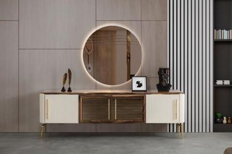Casa Padrino Luxus Art Deco Sideboard Braun / Weiß / Gold 235 x 48 x H. 76 cm - Edler Schrank mit 4 Türen - Art Deco Möbel