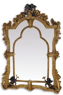 Casa Padrino Barock Spiegel Gold / Schwarz 101 x H. 138, 5 cm - Prunkvoller Wandspiegel im Barockstil